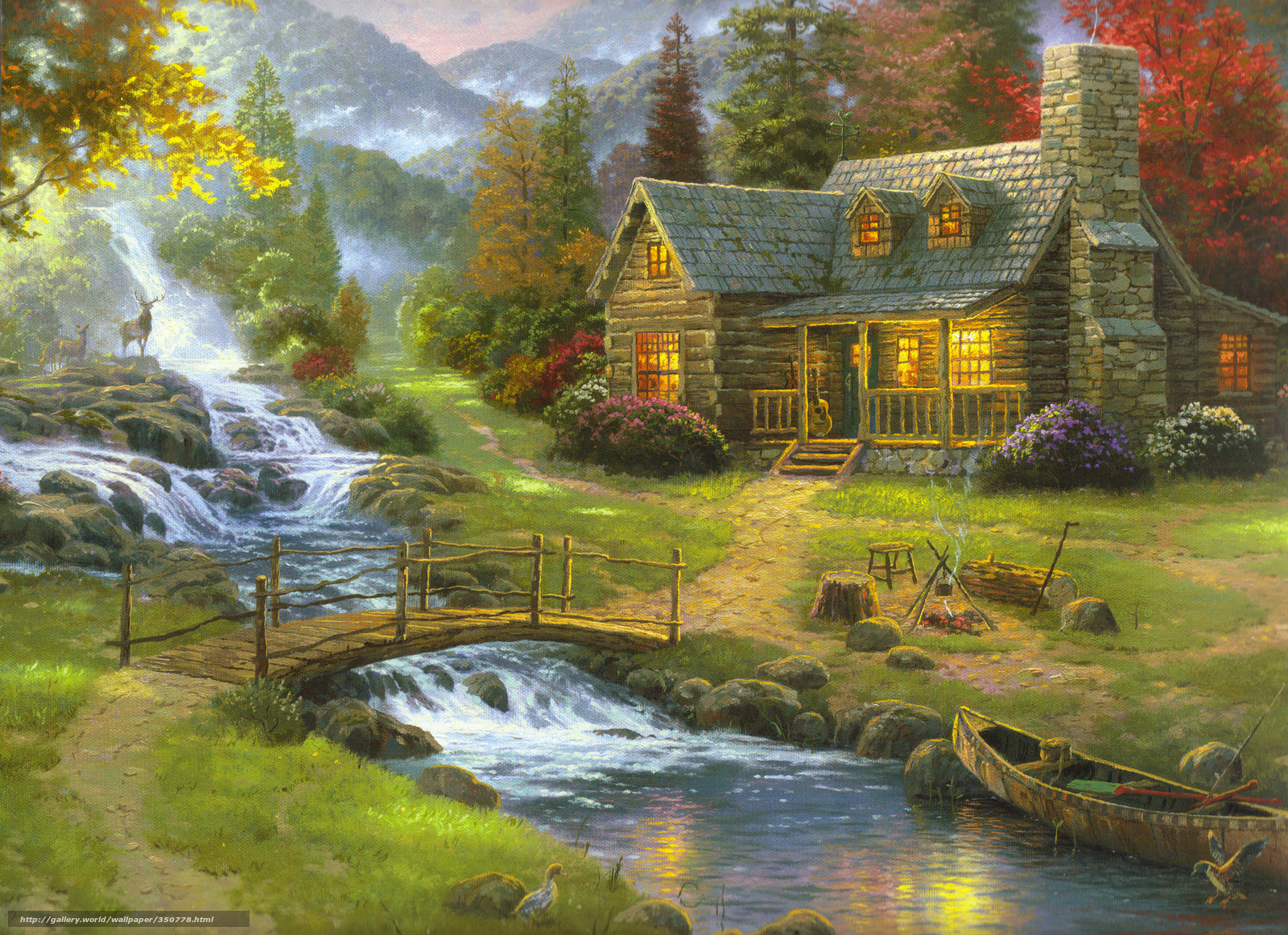 Natureza Floresta Pintura Casa Thomas Kinkade Guitarra Minerao . Full resolution‎  pic, nominally Width 1600 Height 1162 pixels, pic with #A69B25.