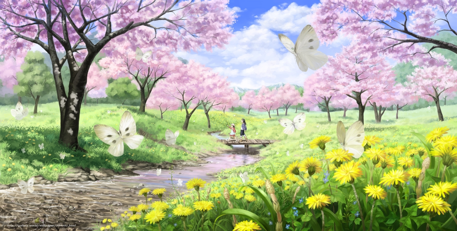 Primavera sakura paisaje ro arte pequeo ro arroyo puente las