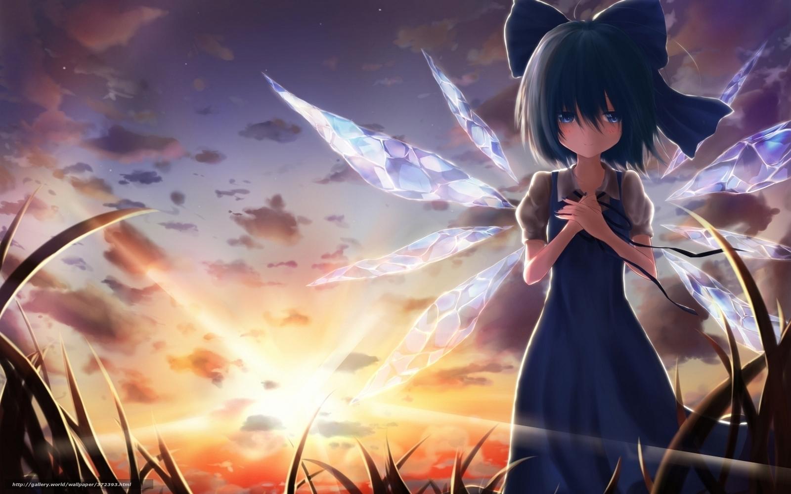 картинки аниме синие платье