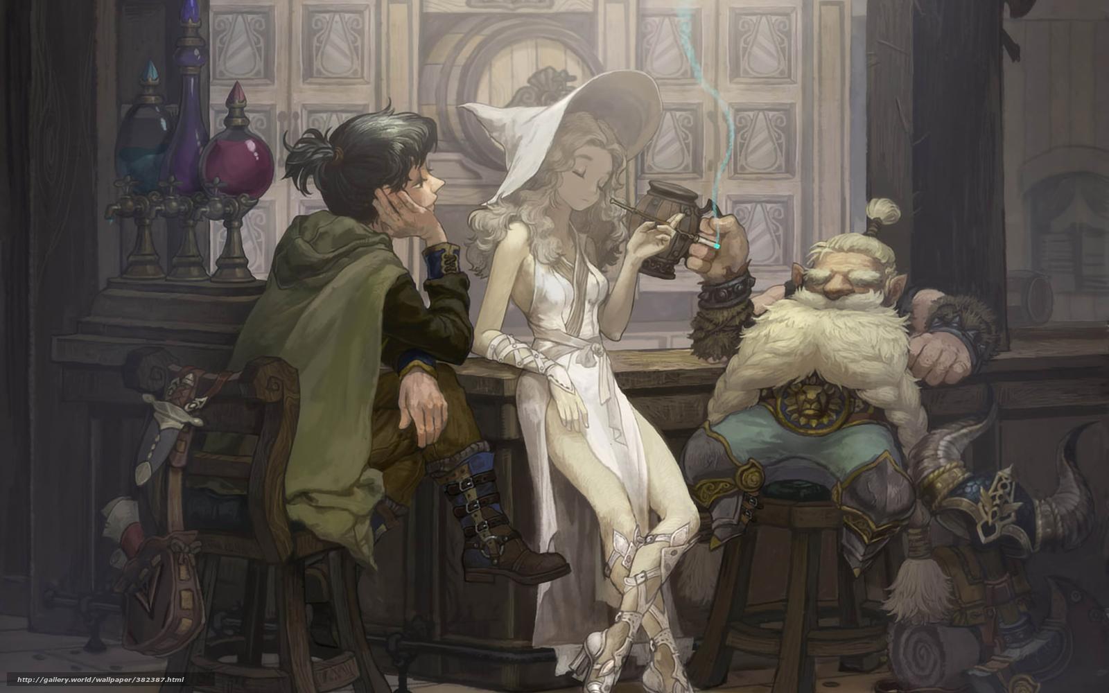 gnomo, bruxa, pub, cerveja, bar, fumador, barril, capacete