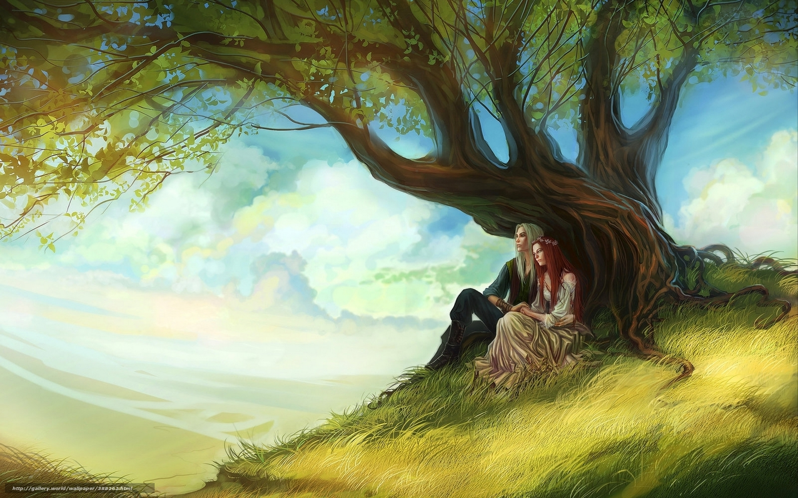 Download wallpaper Art, couple in love, tree, girl free desktop wallpaper in the resolution ...