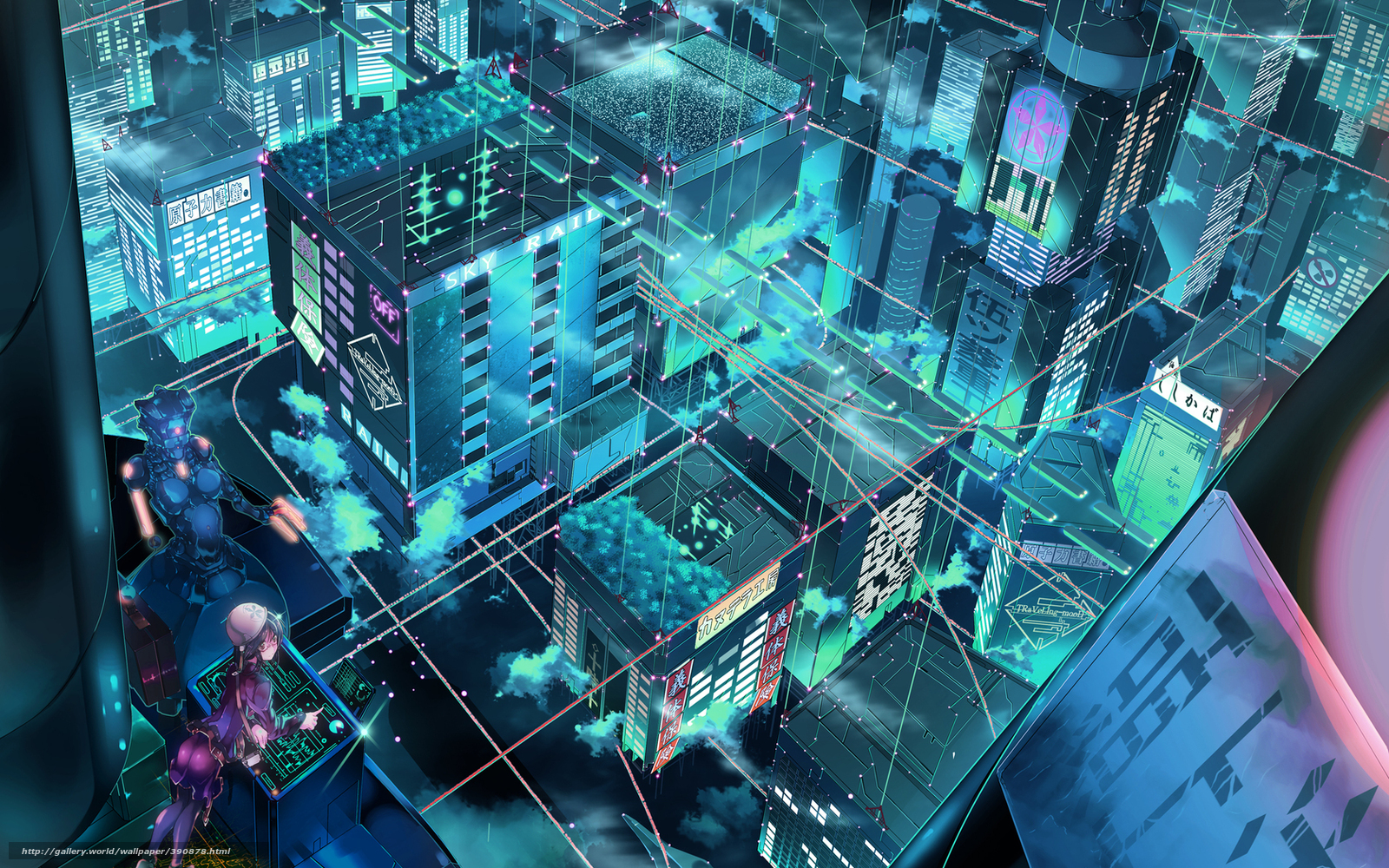 download wallpaper anime cyber city robot free desktop