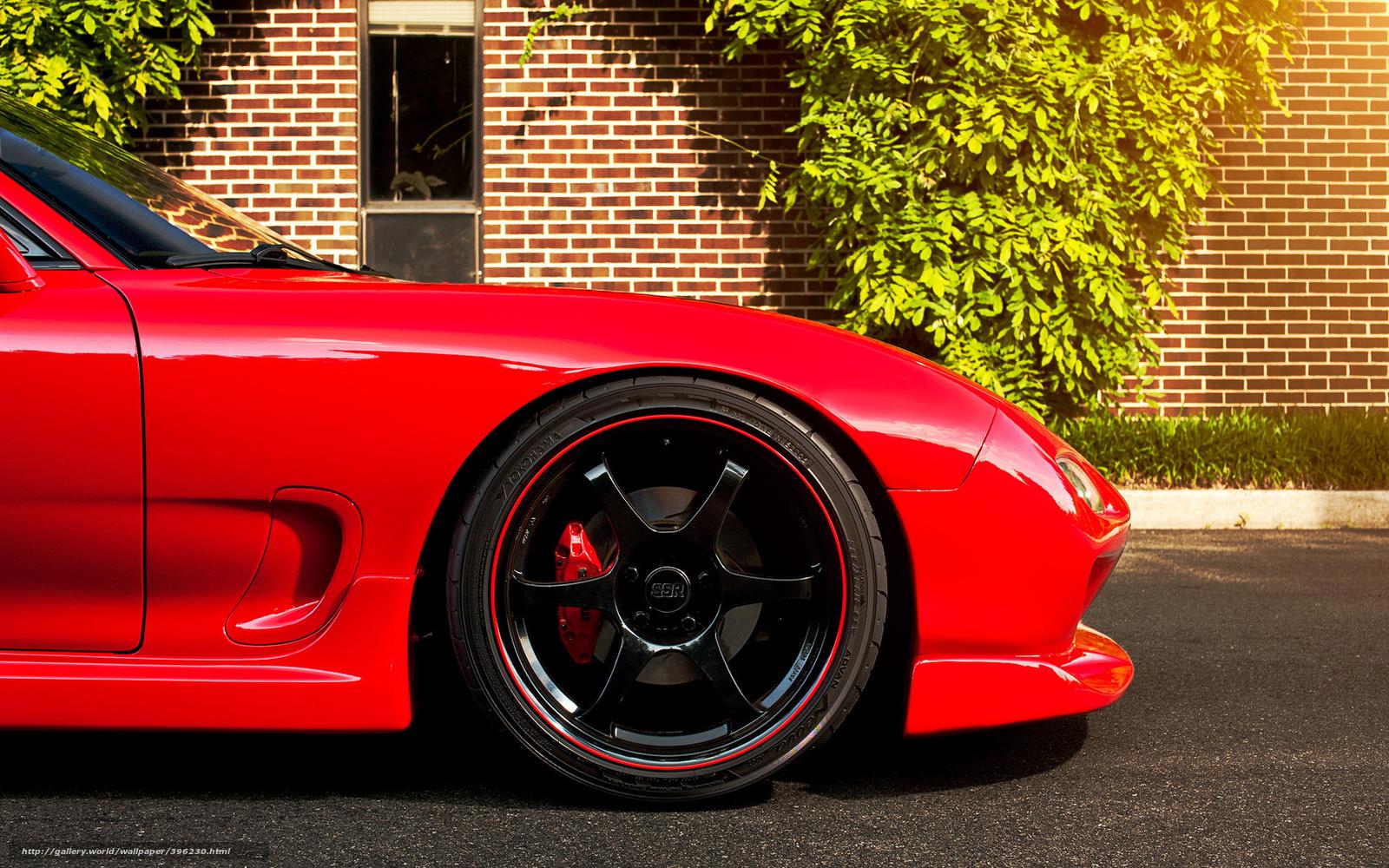 Download Wallpaper Mazda Red Tire Disk Brick Wall Free