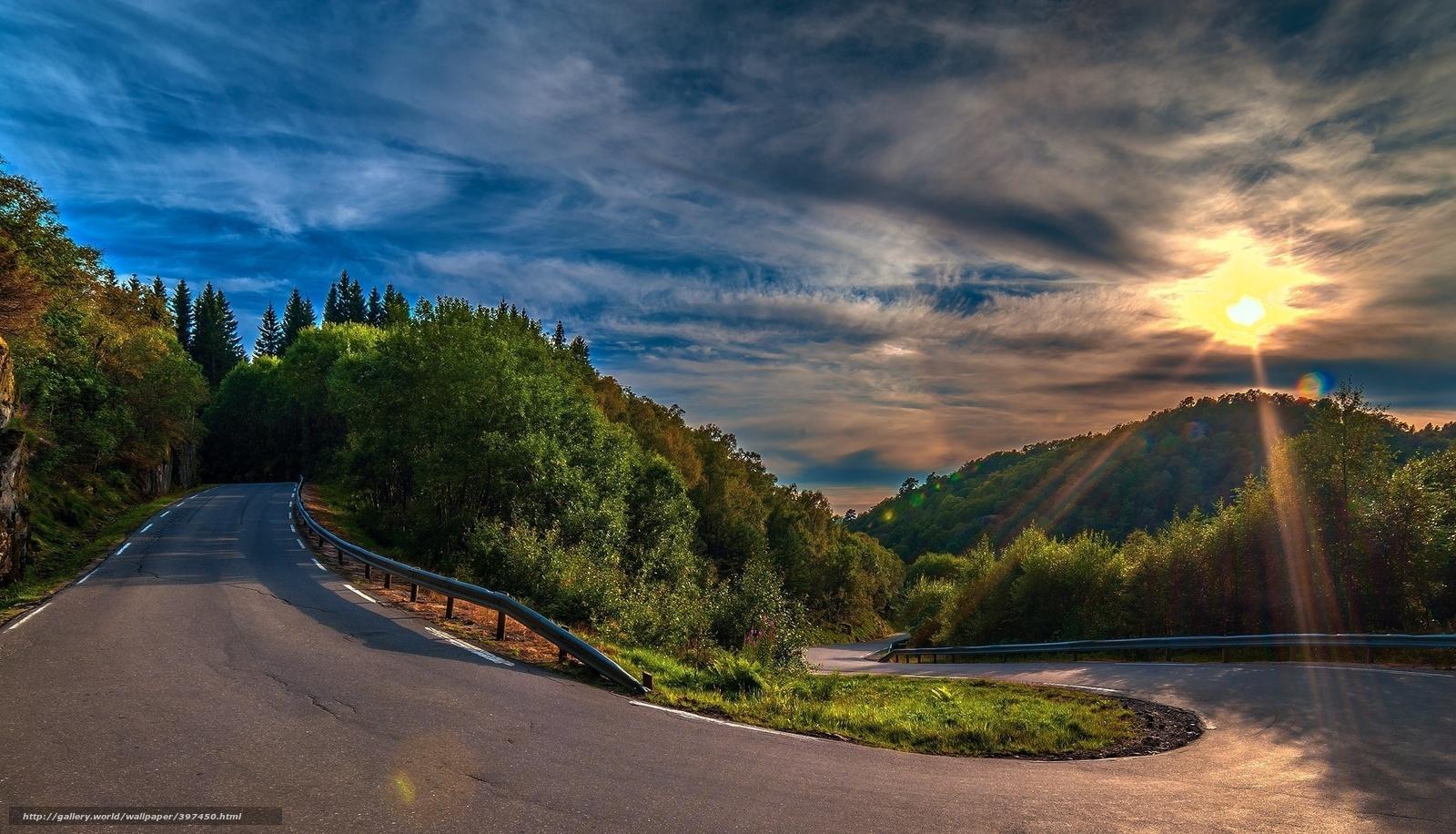 rotao, floresta, estrada, paisagem, asfalto, nuvens, um raio de sol