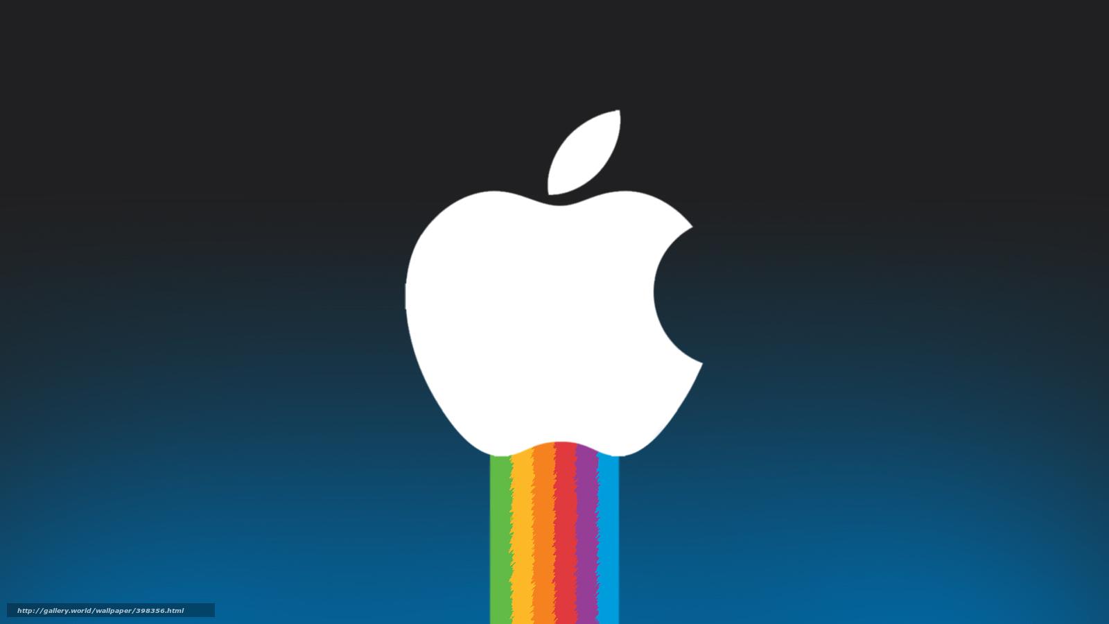 Скачать обои яблоко радуга hi tech
