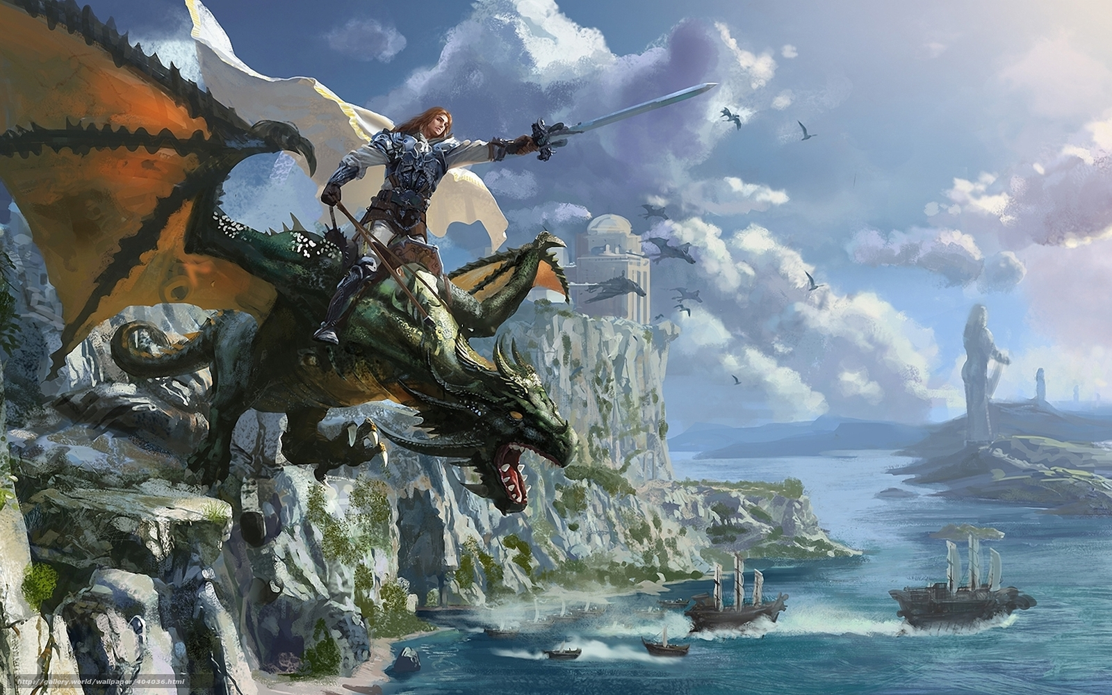 Download Wallpaper Art Dragon Rider Warrior Free