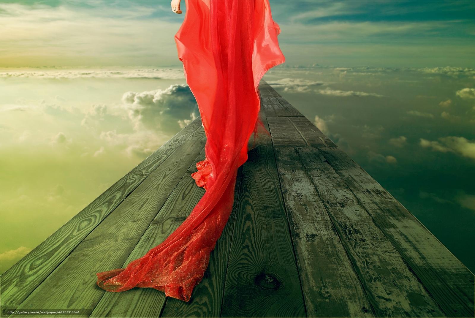 Download wallpaper girl in red dress, plume, bridge, sky free desktop ...: gde-fon.com/download/girl-in-red-dress_plume_bridge_sky_clouds_ring...