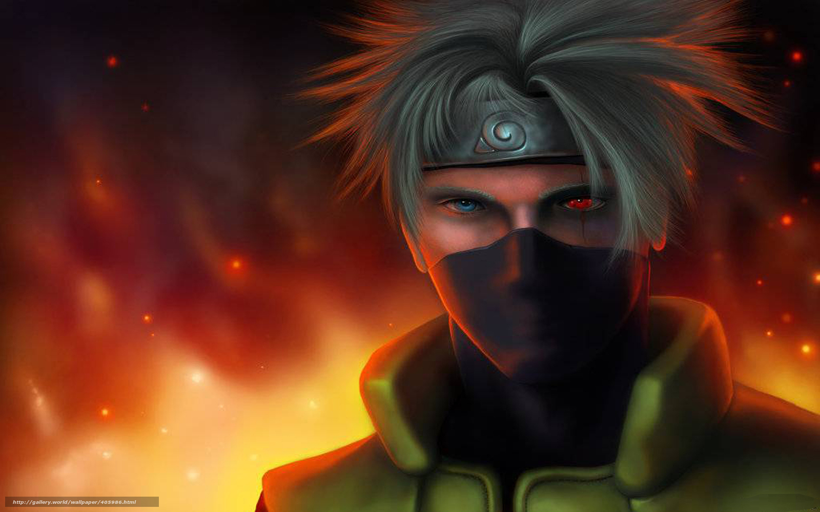 Download wallpaper Art, Kakashi, Hataki, flame free desktop ...