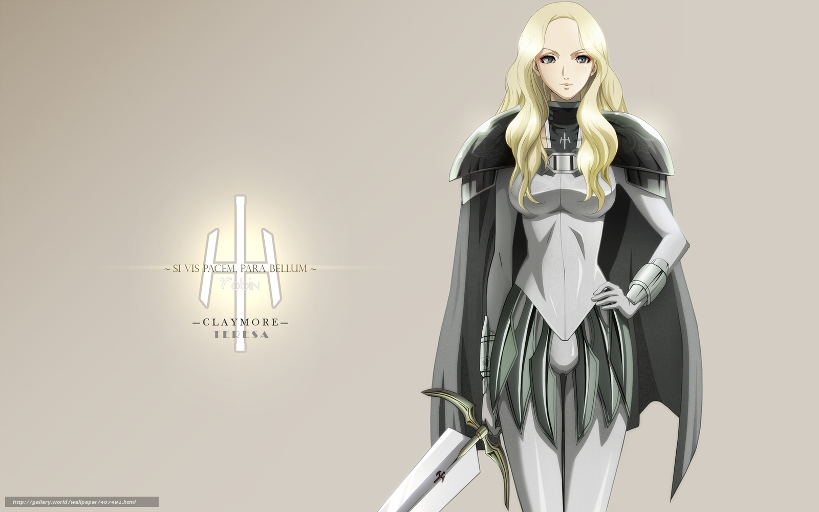 download wallpaper anime girl warrior claymore free