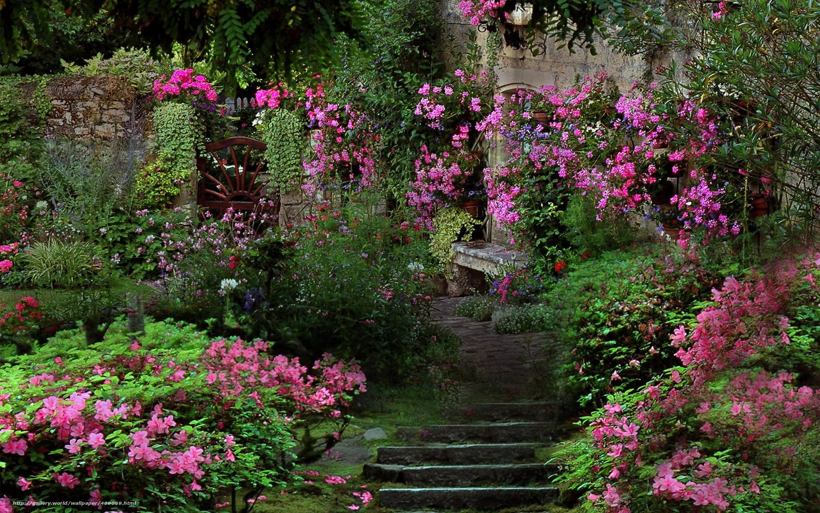 Скачать обои сад лестница цветы