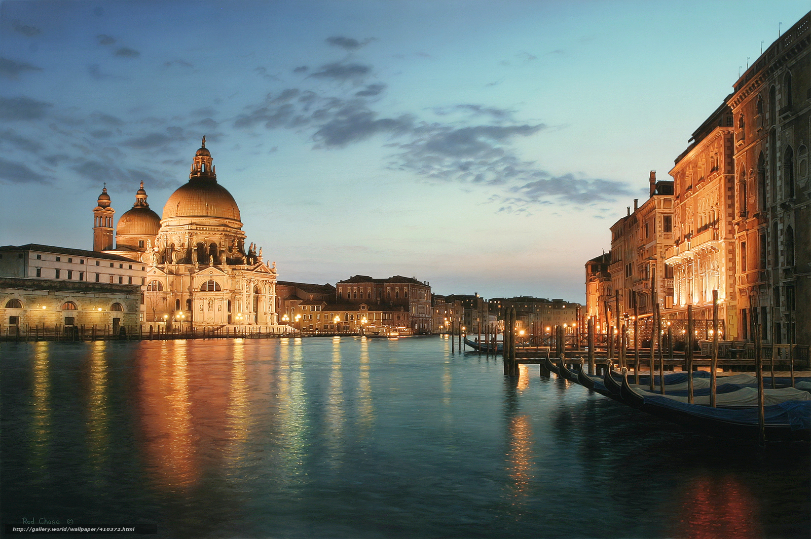 Download wallpaper Venice at night, Venice, Italy, The Grand Canal
