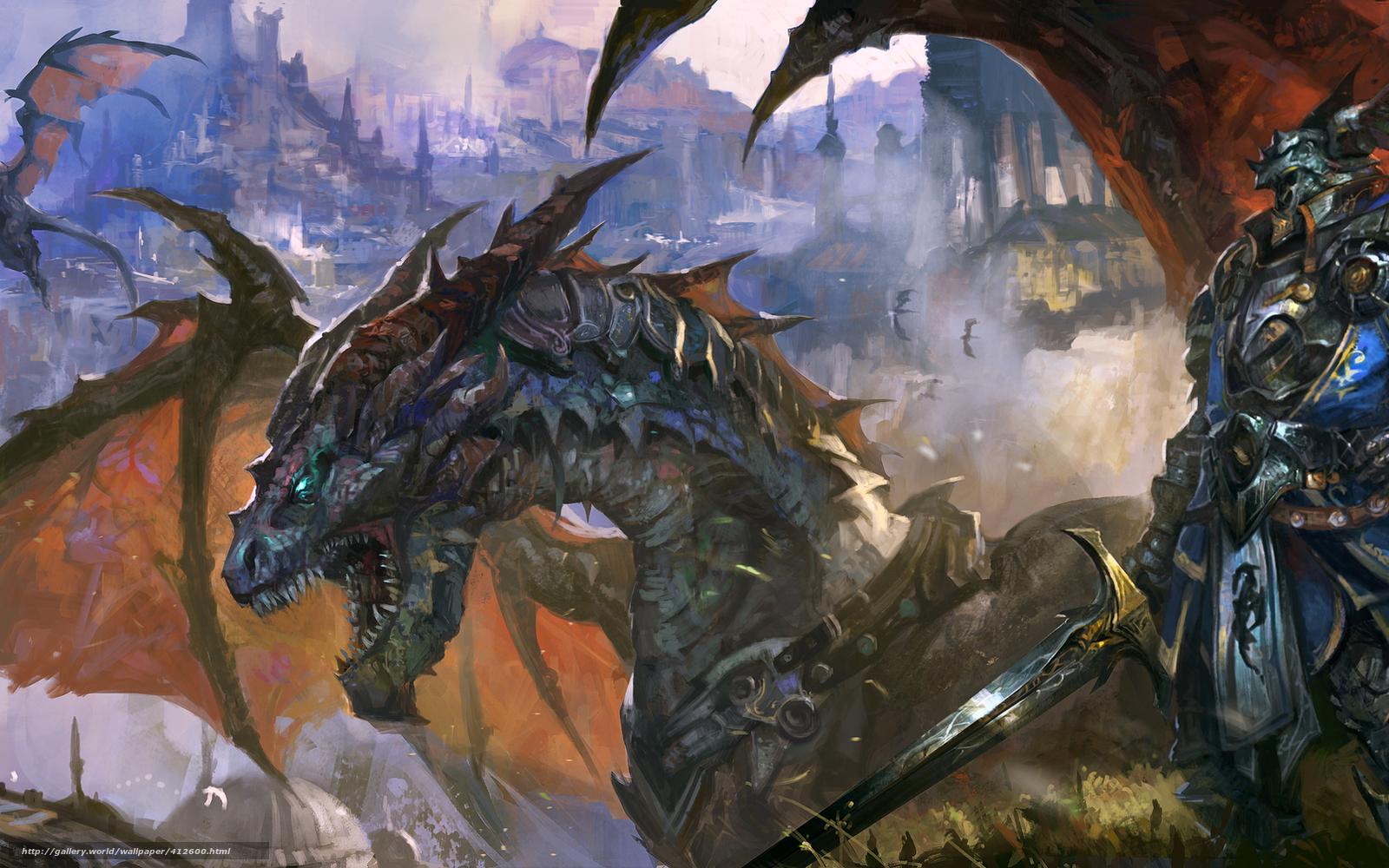 Download wallpaper Warrior, knight, dragon, armor free desktop ...: gde-fon.com/download/Warrior_knight_dragon_armor_sword_city/412600...