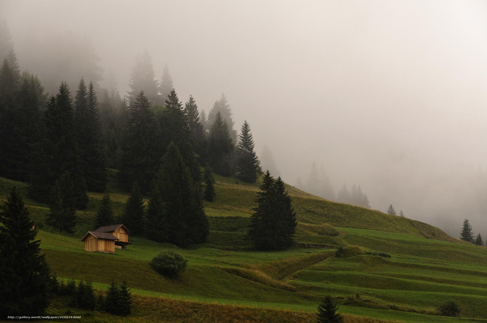 Скачать обои природа утро туман горы