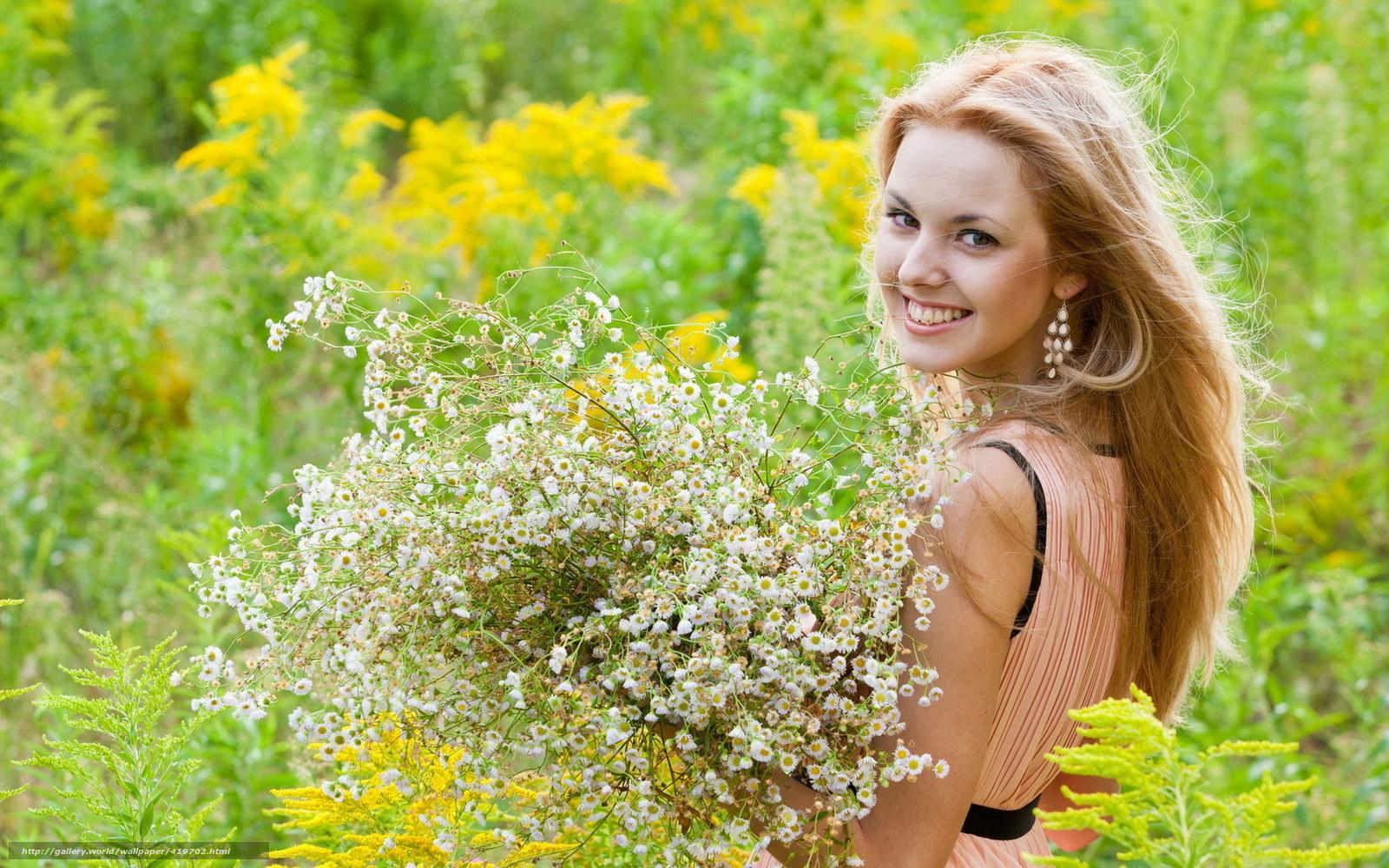 Скачать обои лето девушка цветы