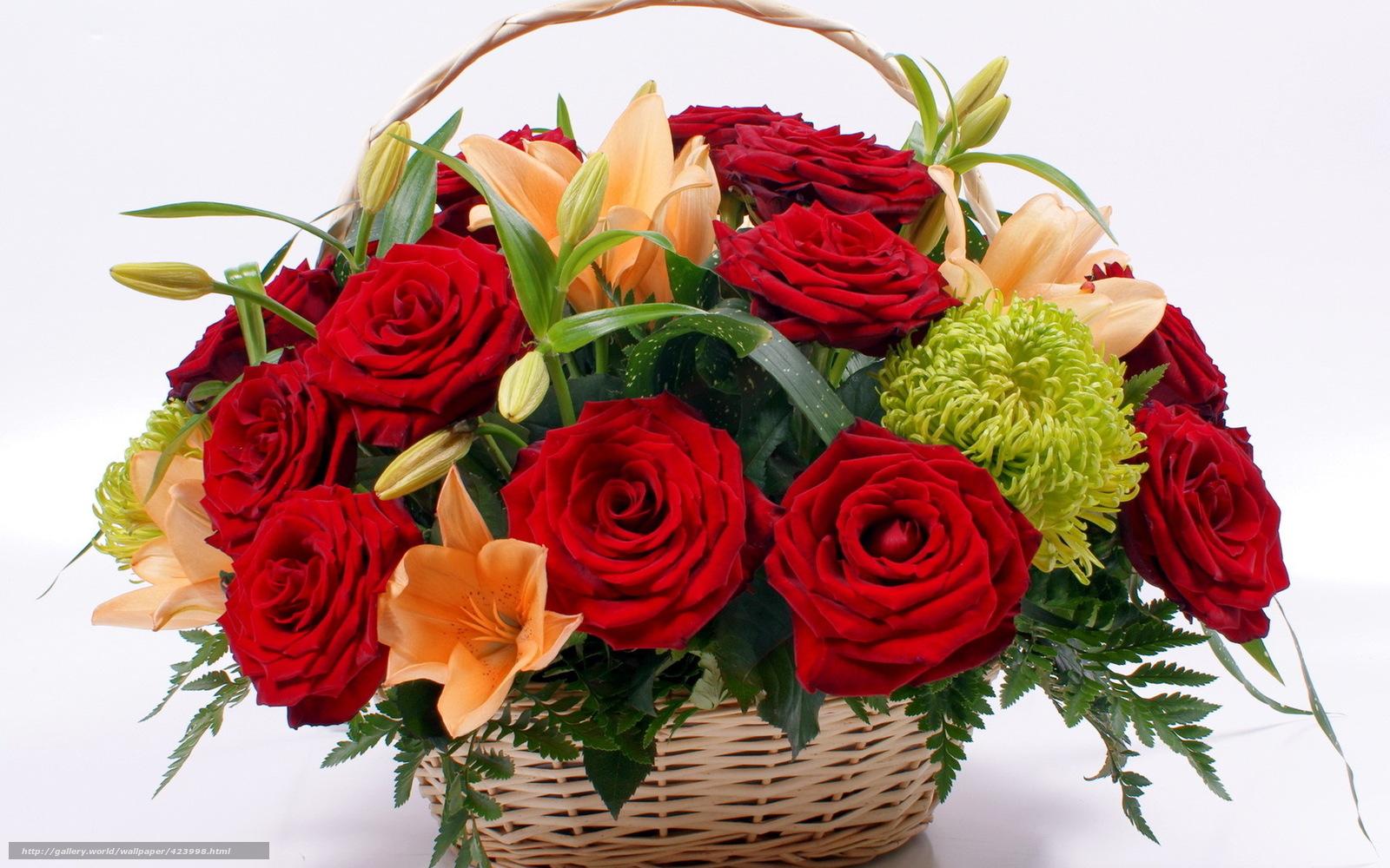 Красивые цветы корзинка красные