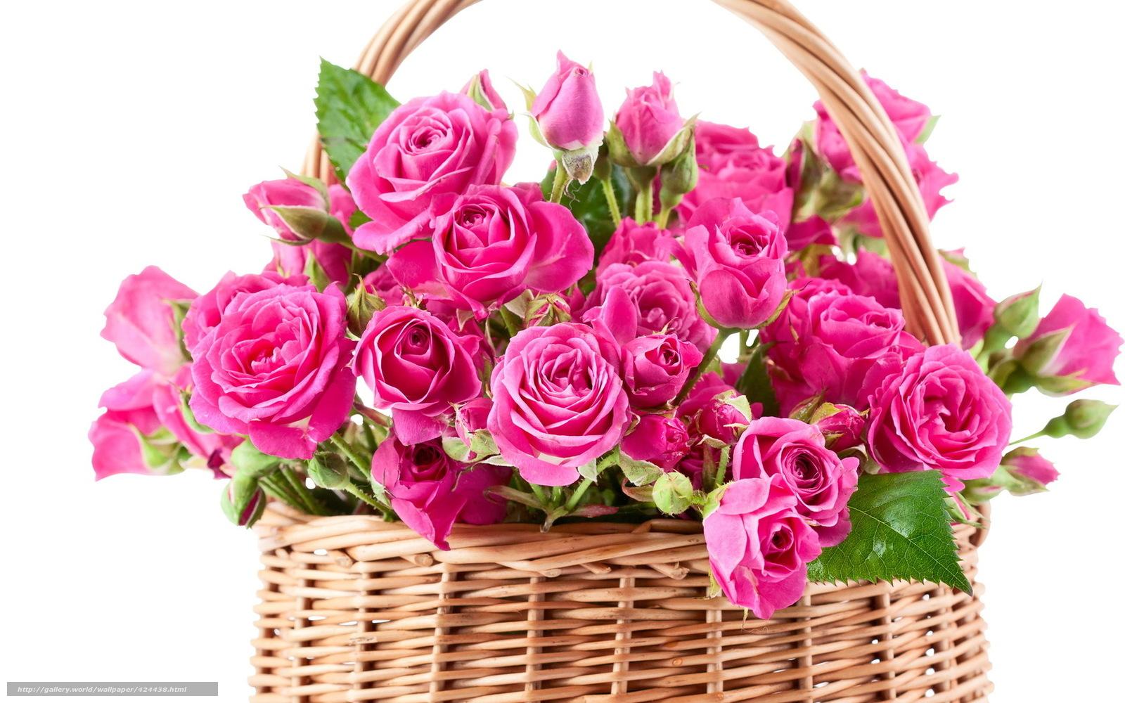 Розовые цветы корзинка букет розы