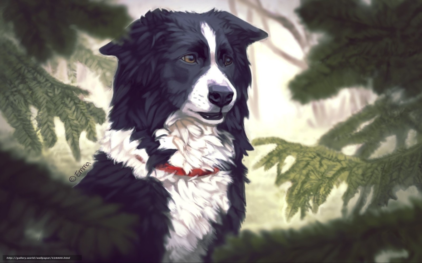 Скачать обои арт собака деревья ель