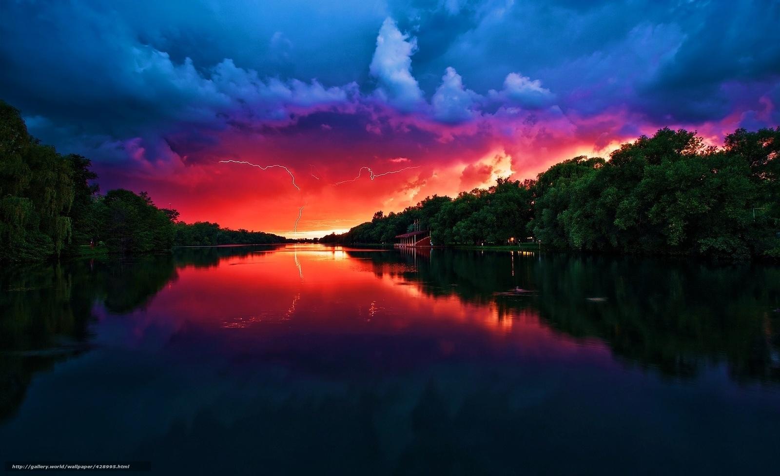 Тучи, река, молния, закат,...