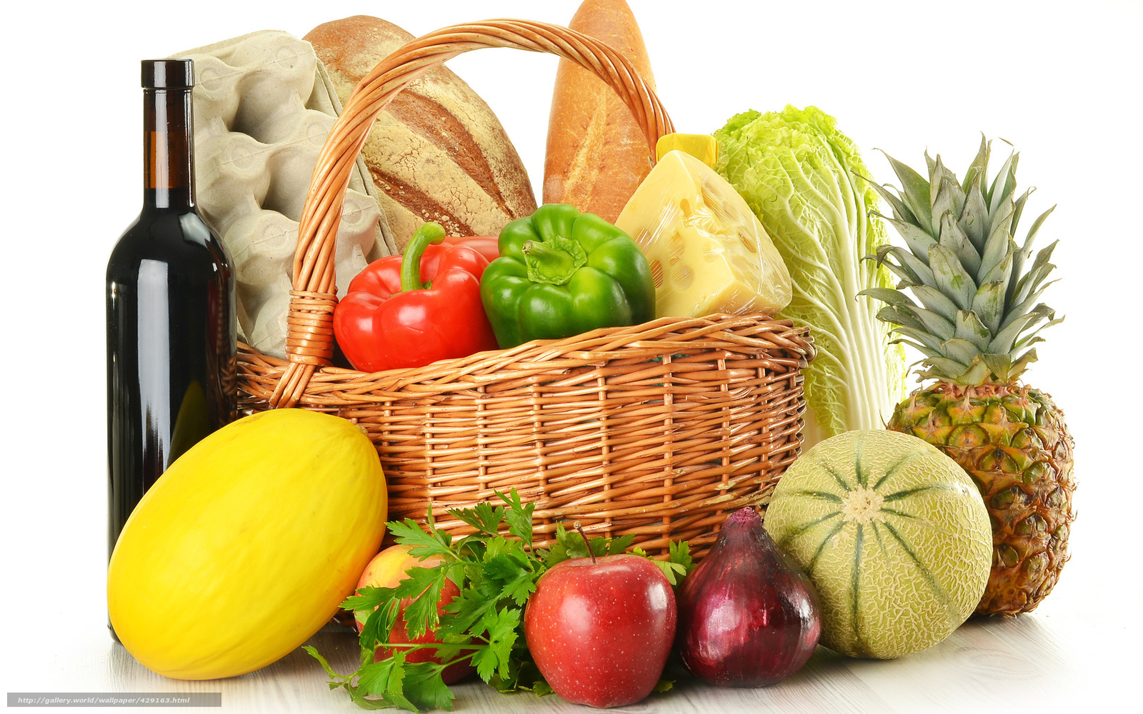 Download wallpaper fruit, vegetables, basket free desktop ...