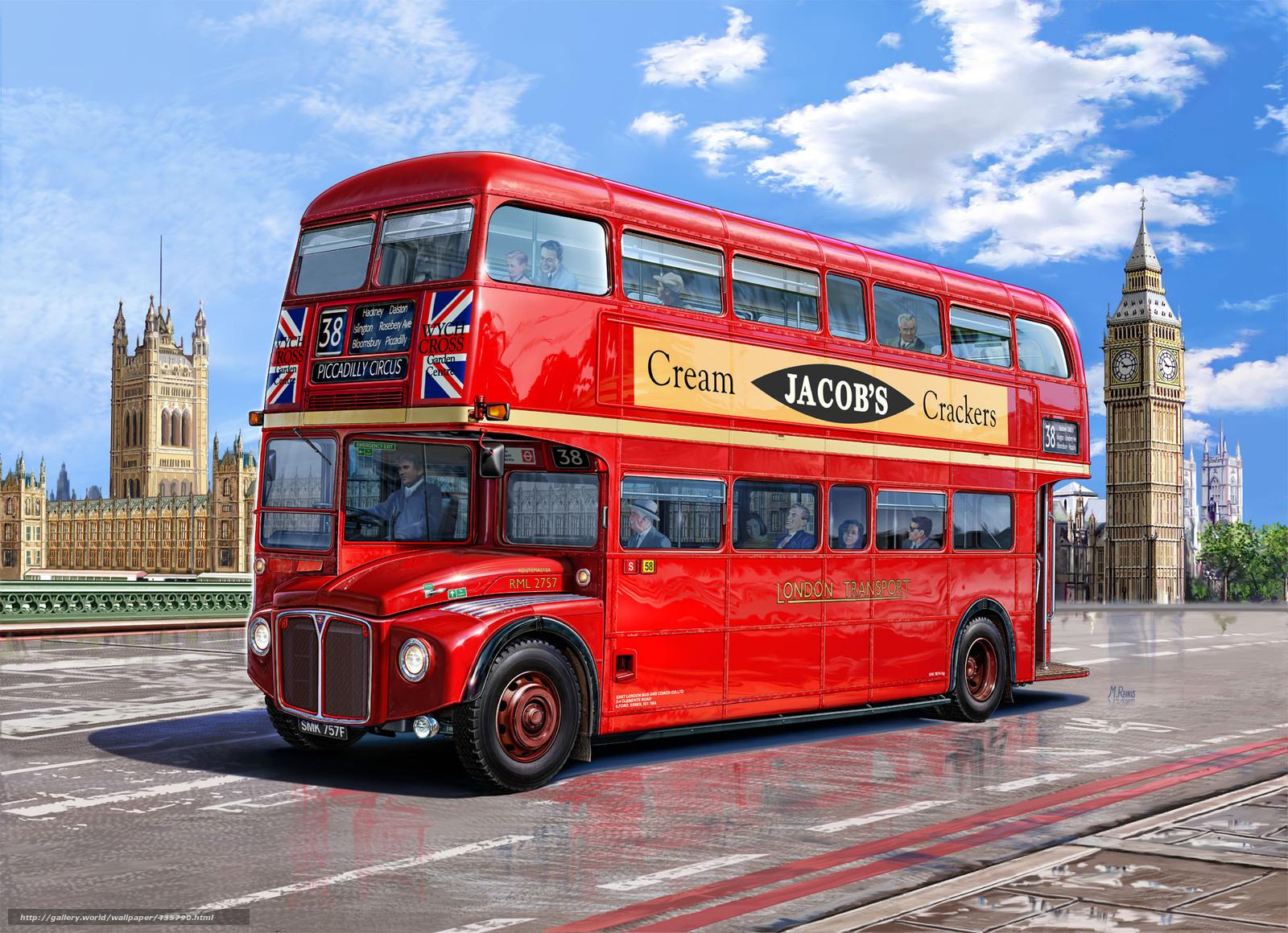 Deux tages, de londres, rouge, bus, dessin, palais de westminster, big