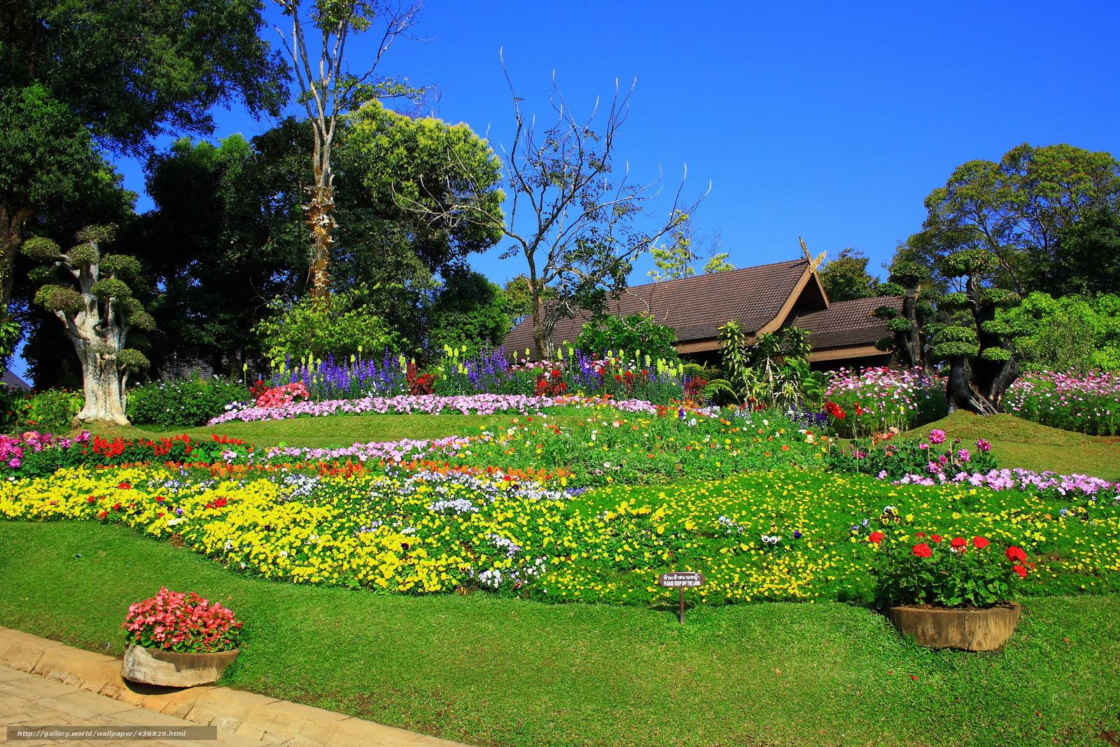 Tlcharger fond d 39 ecran jardin maison parterre de fleurs for Jardin japonais fond d ecran