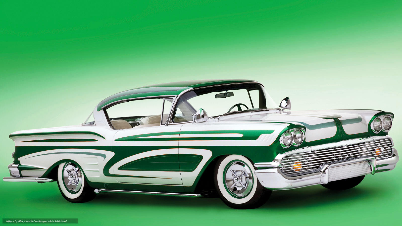 Download wallpaper Chevrolet Impala, green car, classic free desktop