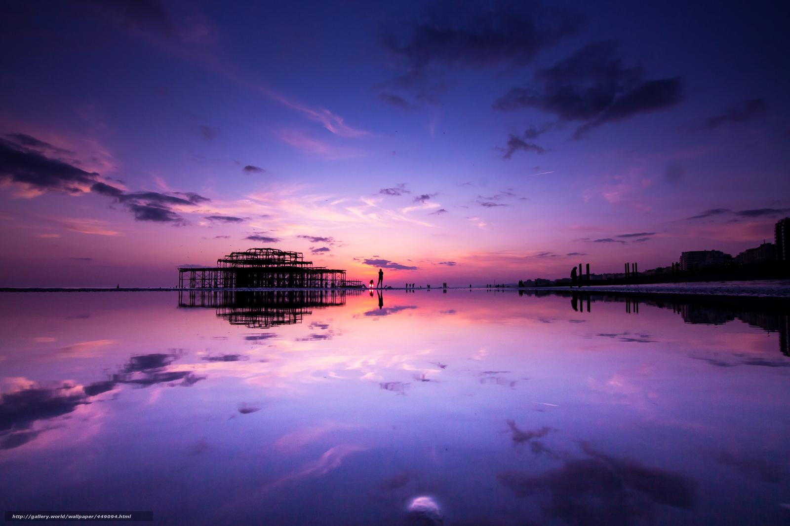 Download wallpaper England, Brighton, reflection, water ...