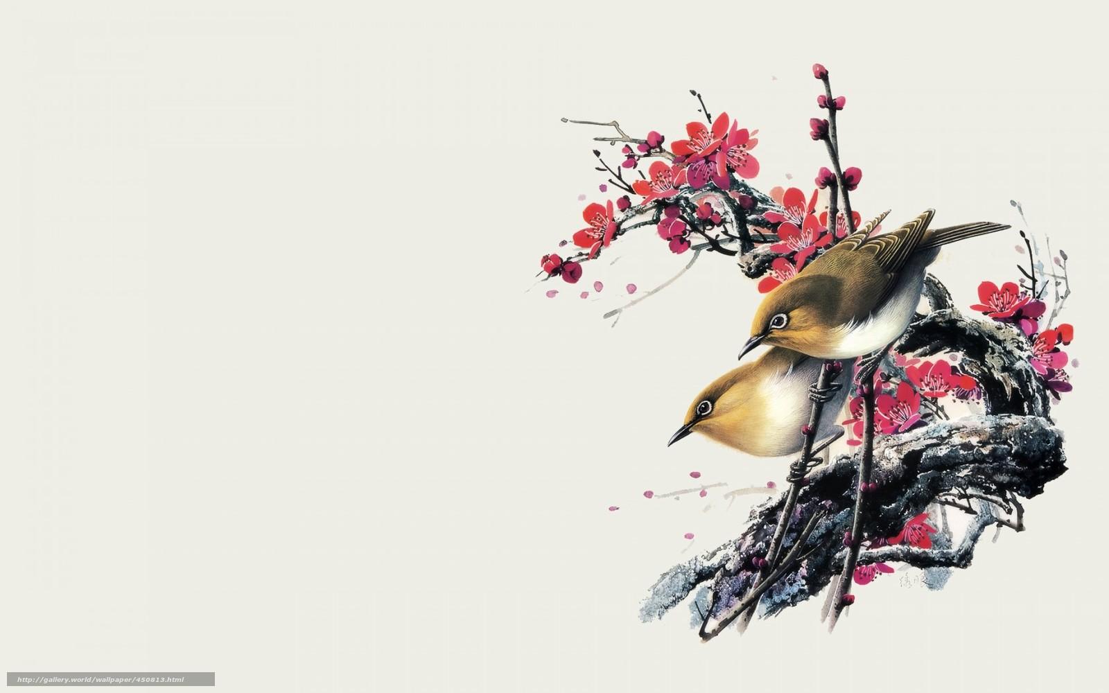 обои для рабочего стола птицы рисованные № 1489950 без смс