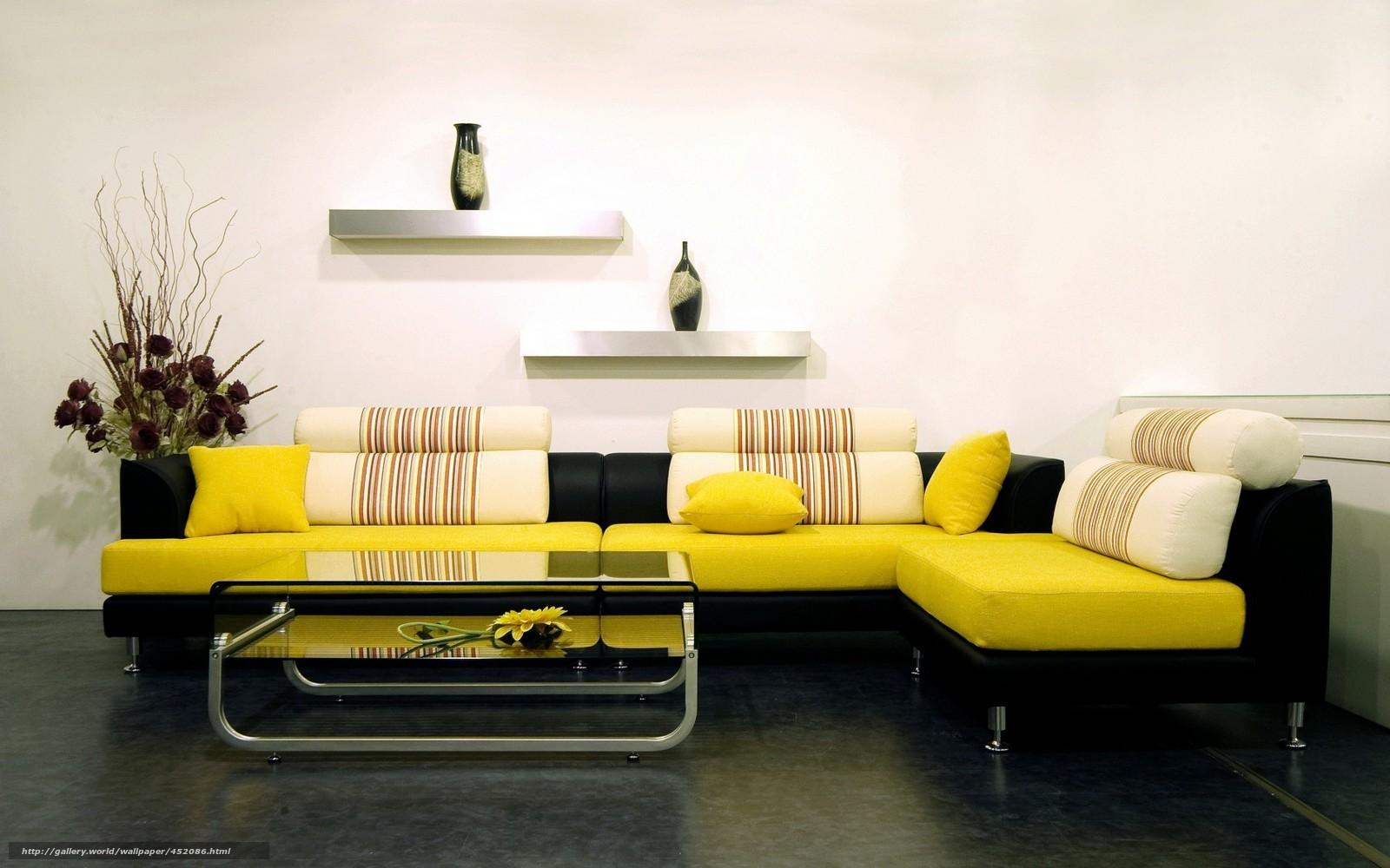 Диван желтый фото