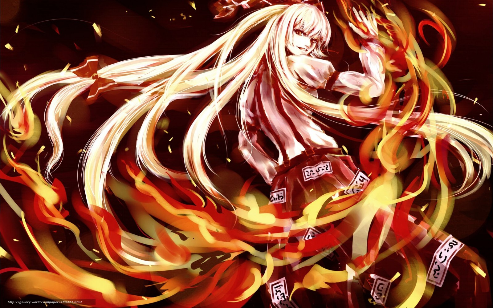 Download wallpaper girl view smile fire free desktop - Anime girls with fire ...