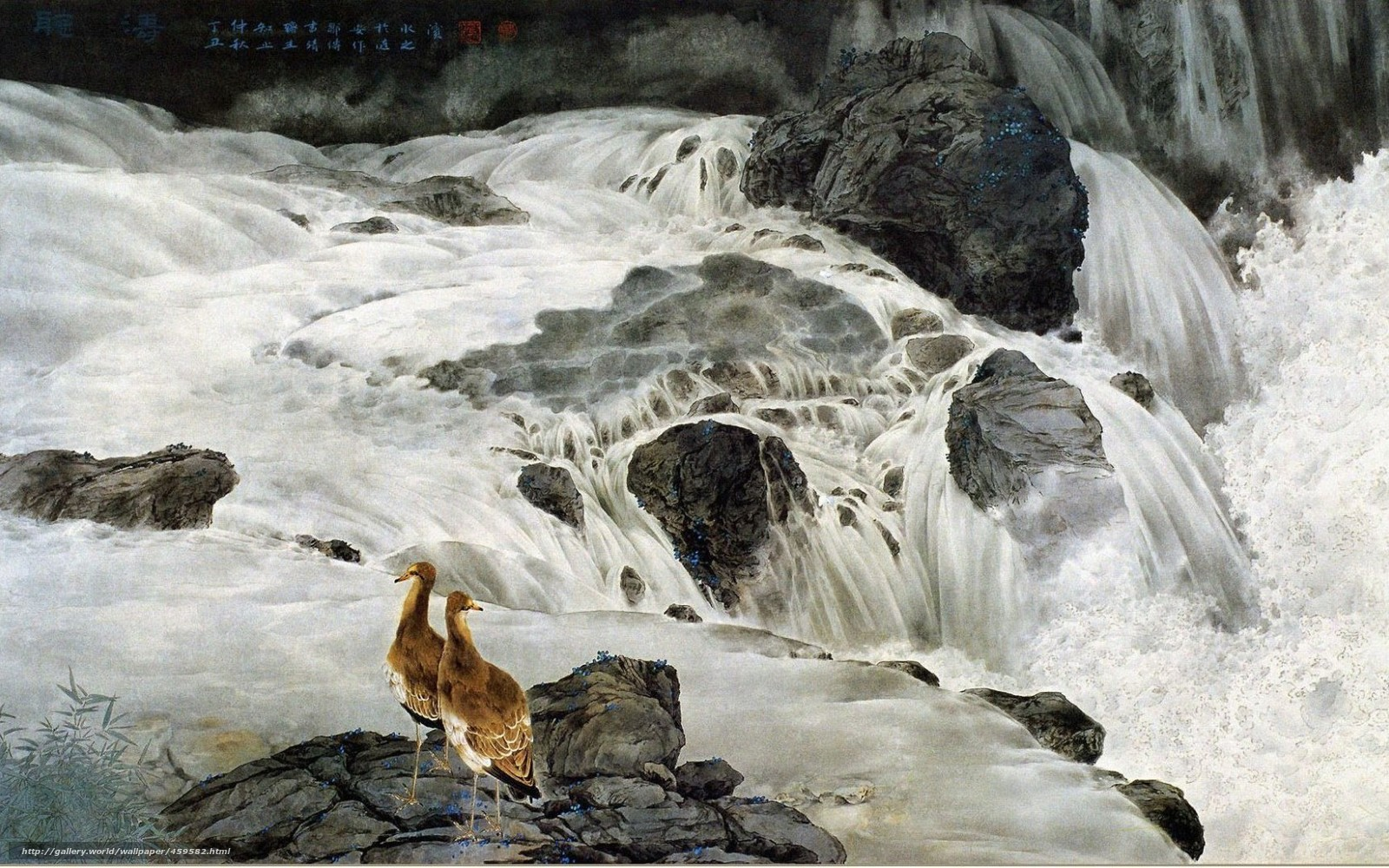 Download wallpaper Chinese painting, picture, Art, waterfall free