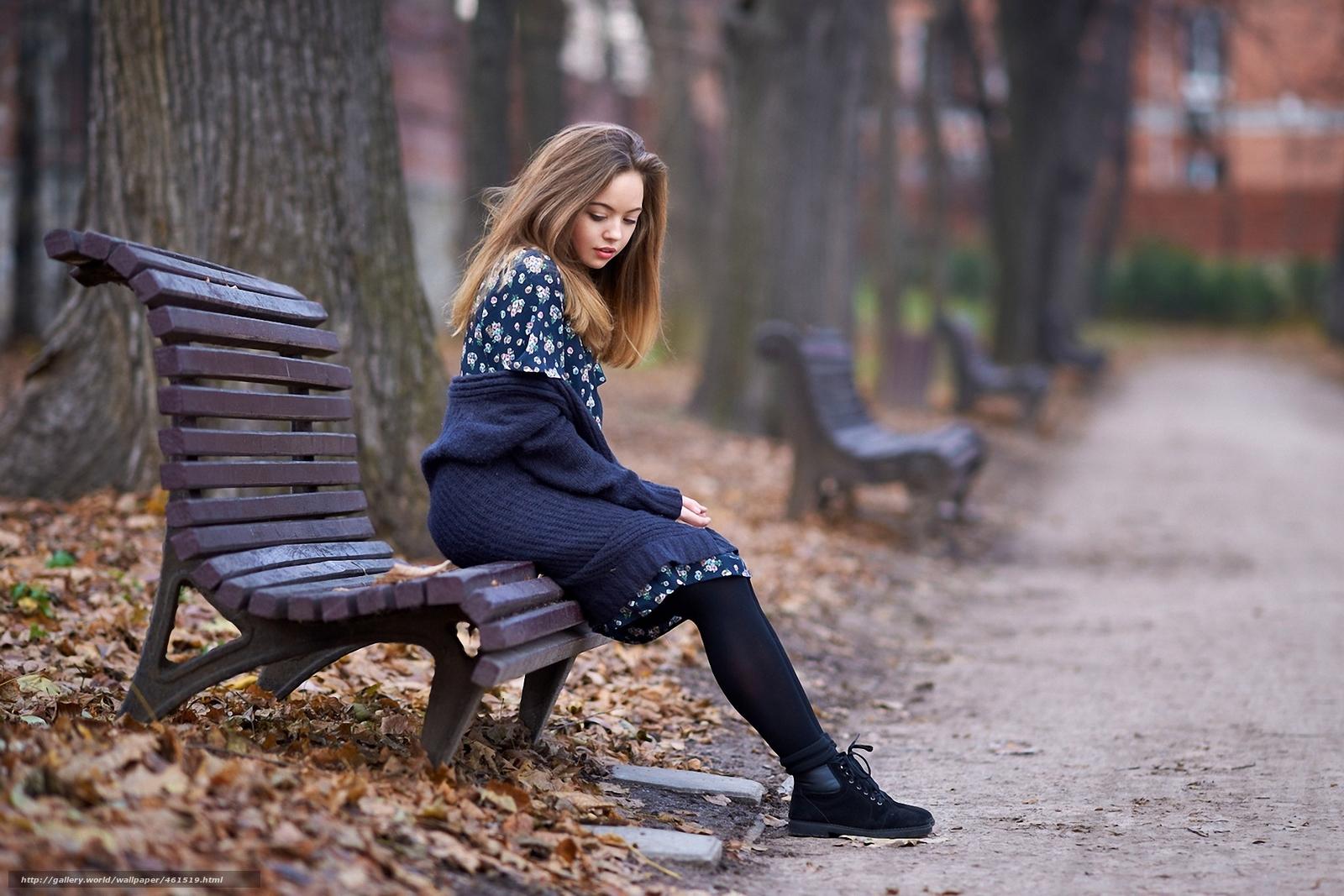 Девушка парк осень