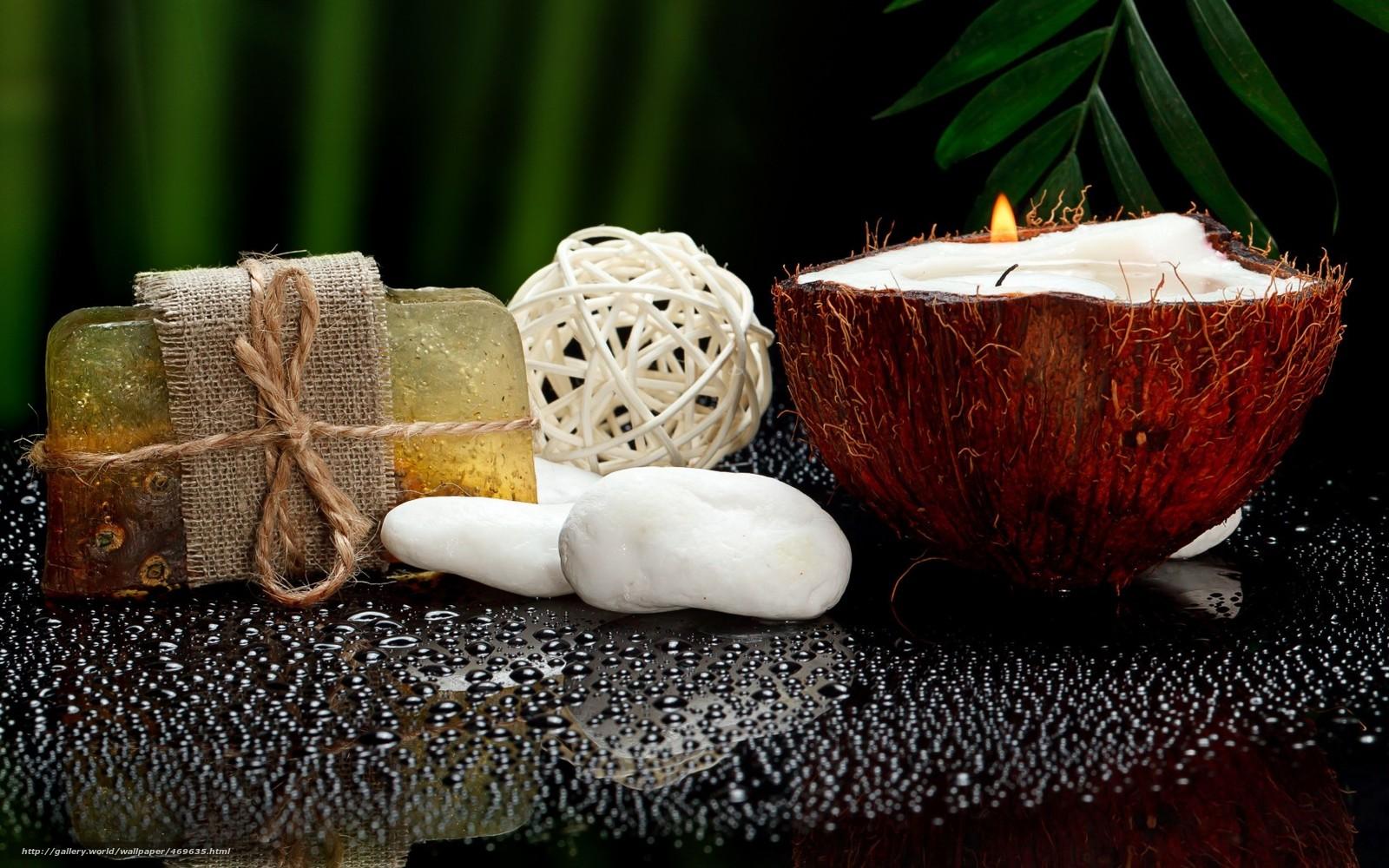 Download wallpaper spa soap candle coconut free desktop for Salon wallpaper