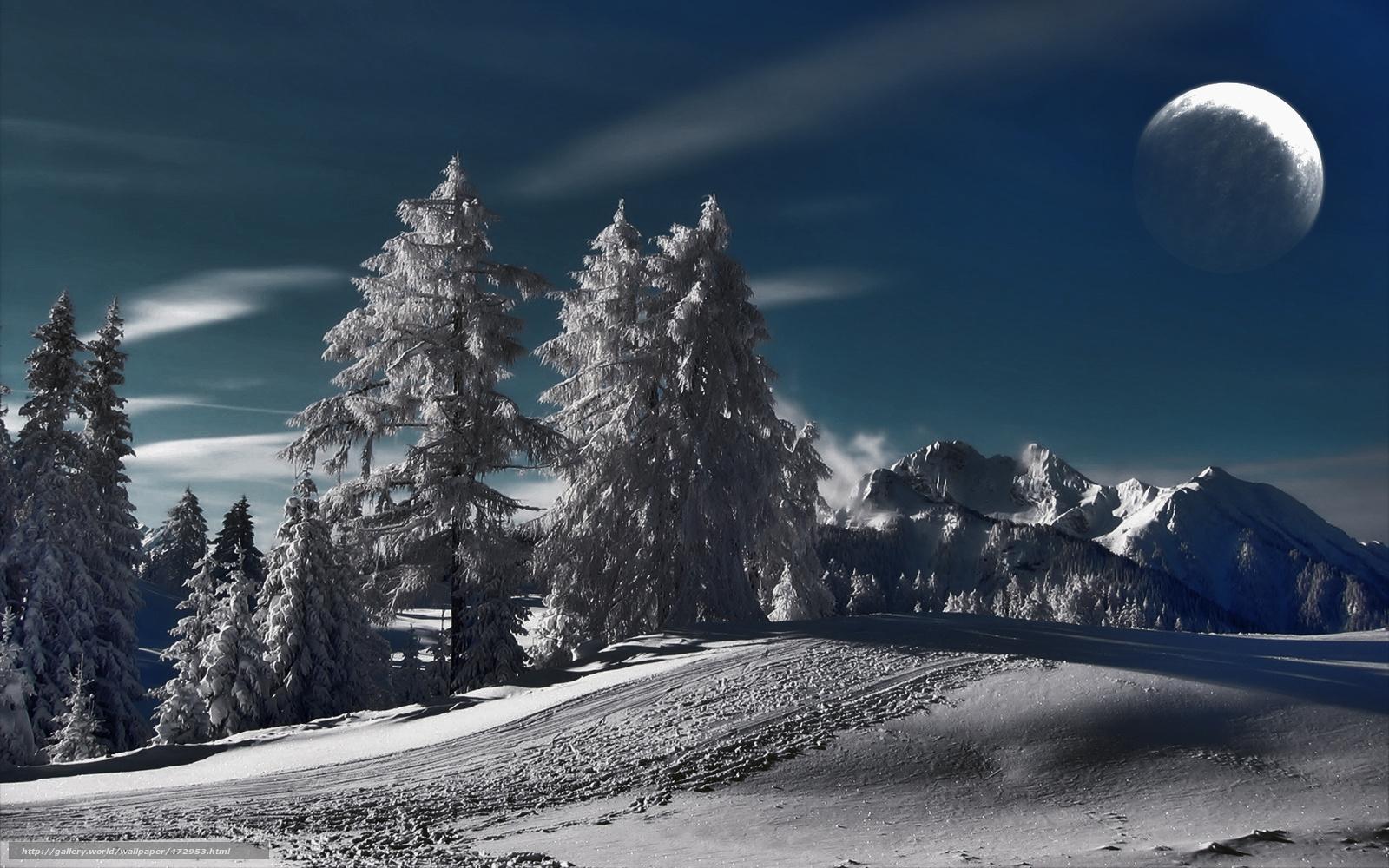 winter snow mountain moon - photo #44