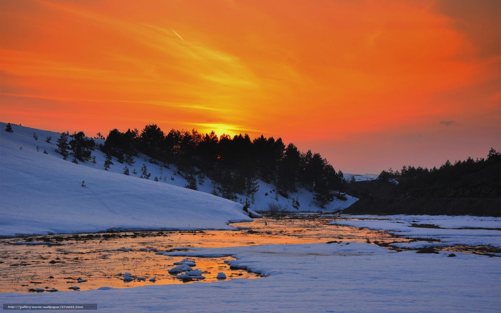 Tlcharger fond d 39 ecran hiver neige coucher du soleil for Fond ecran hiver hd