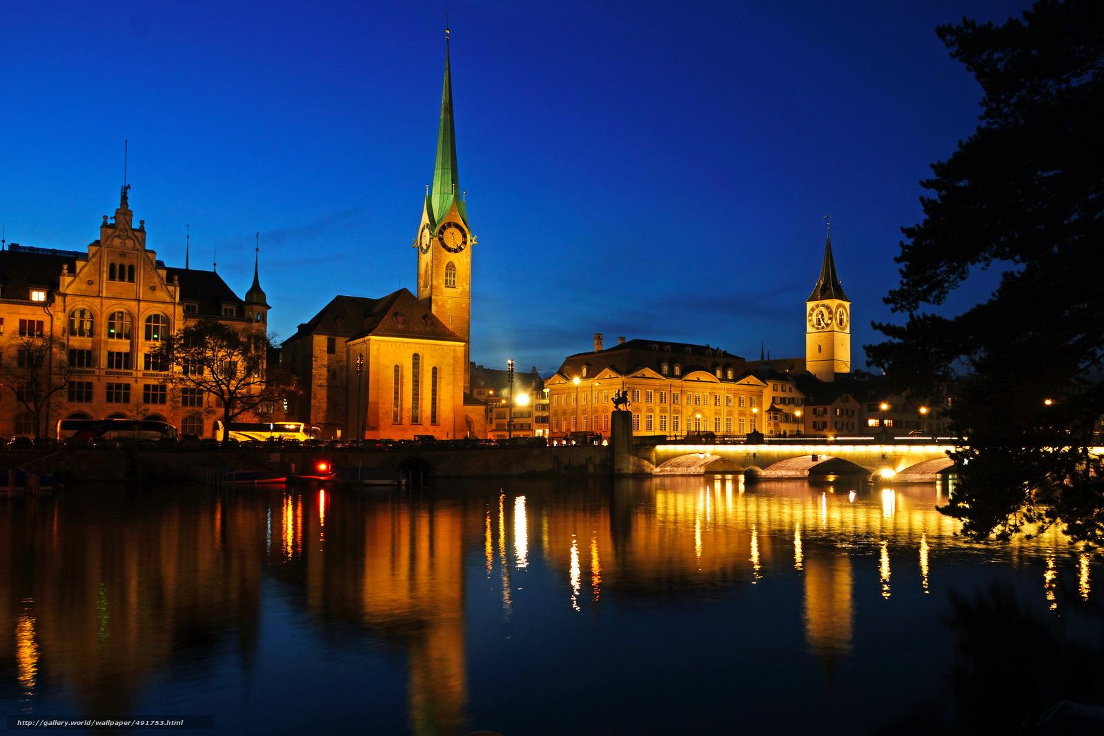 Download Wallpaper Switzerland, River, Zurich, Night Free