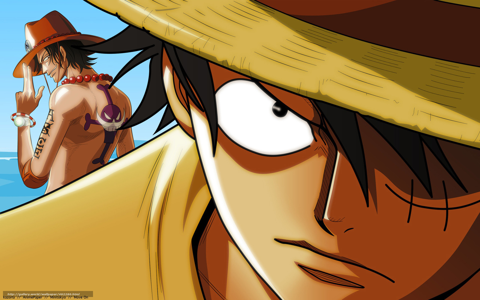 Download wallpaper one piece: luffy et asce, luffy, asce ...