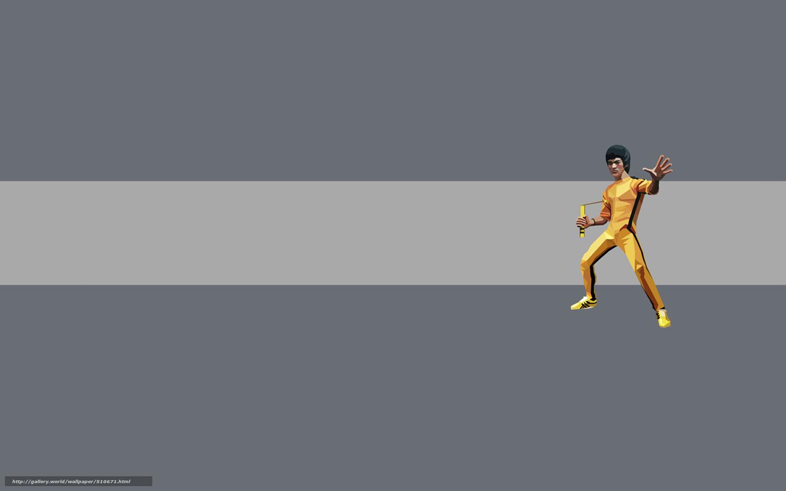 , fundo cinza, Kung Fu, banda, Bruce Lee, amarelo, homem, minimalismo