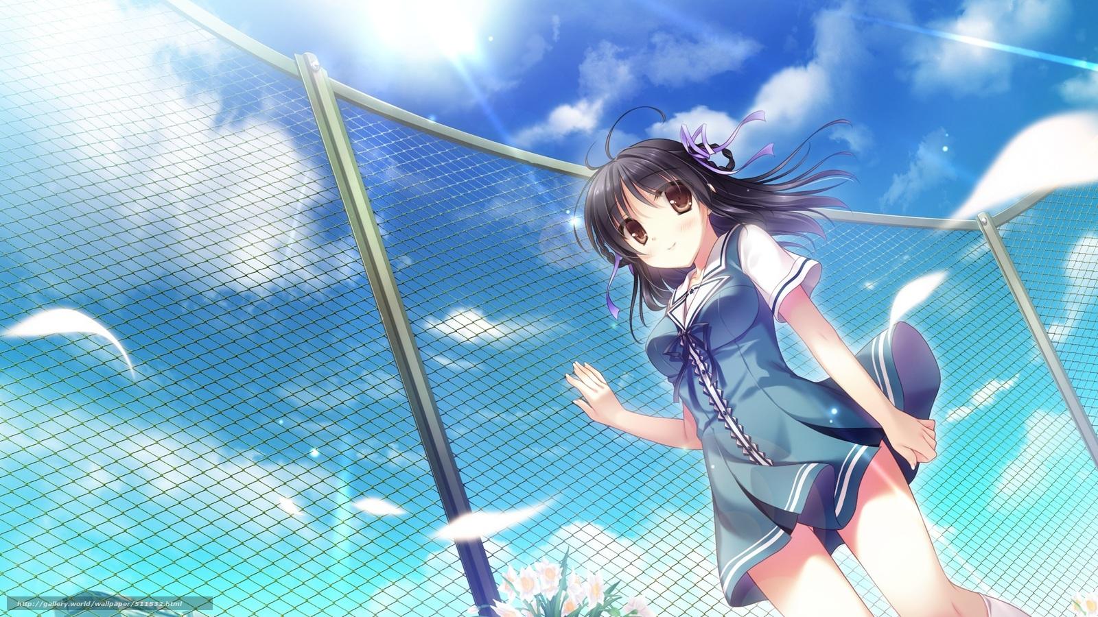 Скачать обои небо аниме девушка