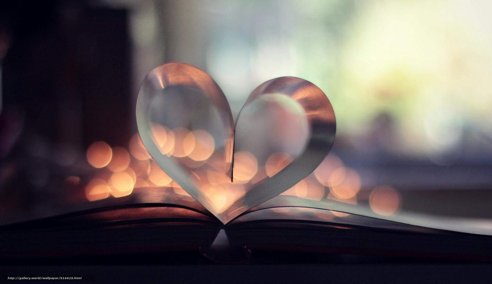 scaricare gli sfondi bokeh,  pagina,  libro,  cuore Sfondi gratis per la risoluzione del desktop 2048x1185 — immagine №516625