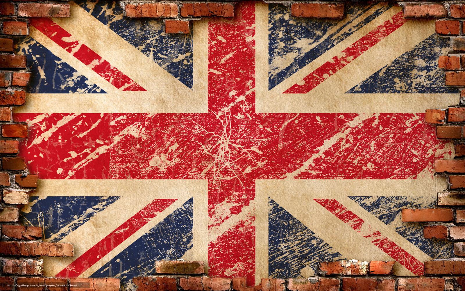 Papel de parede bandeira, parede, Inglaterra, Tijolos, Reino Unido №525517