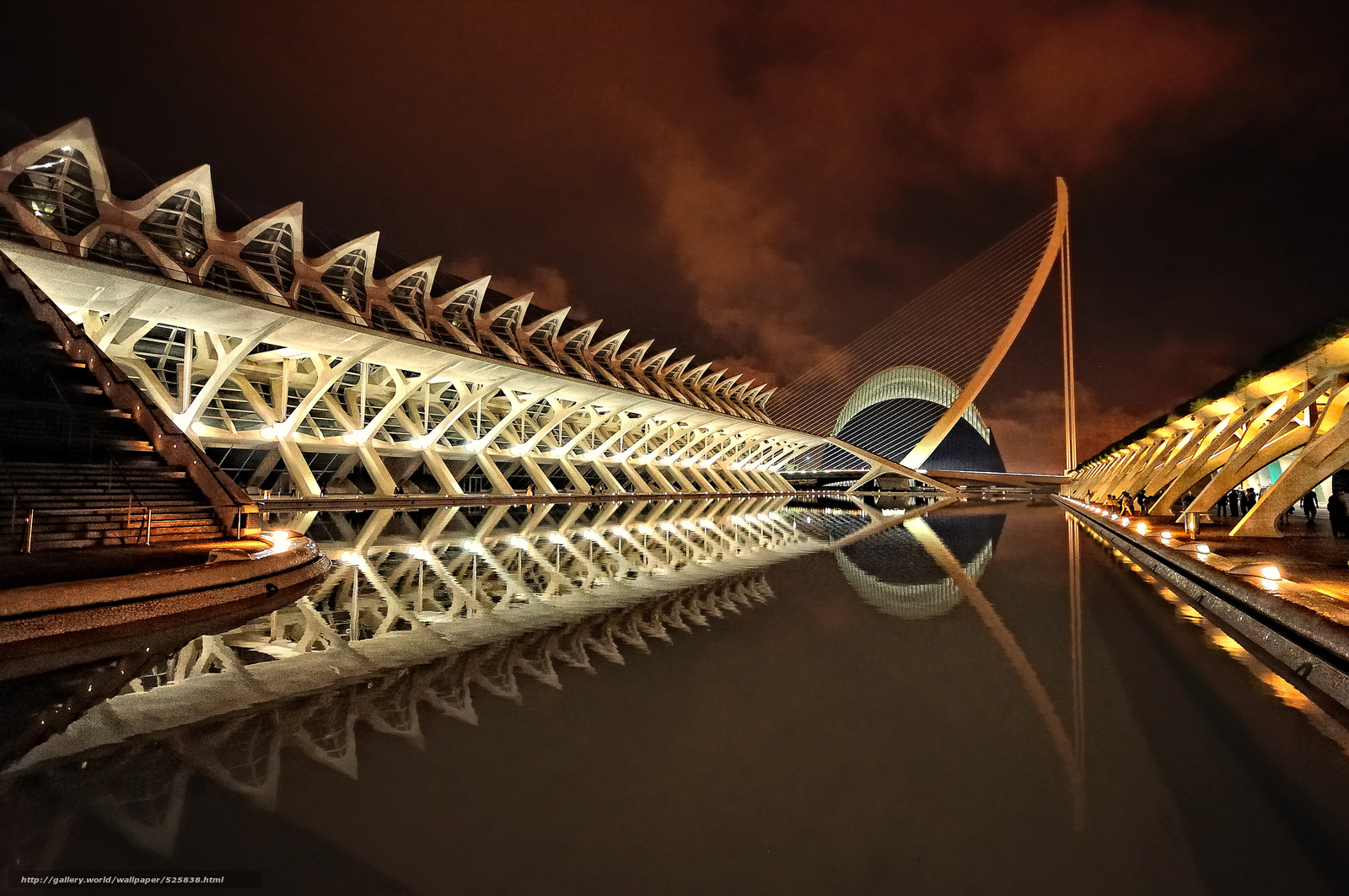 Download wallpaper Night City of Arts and Sciences, valencia ...