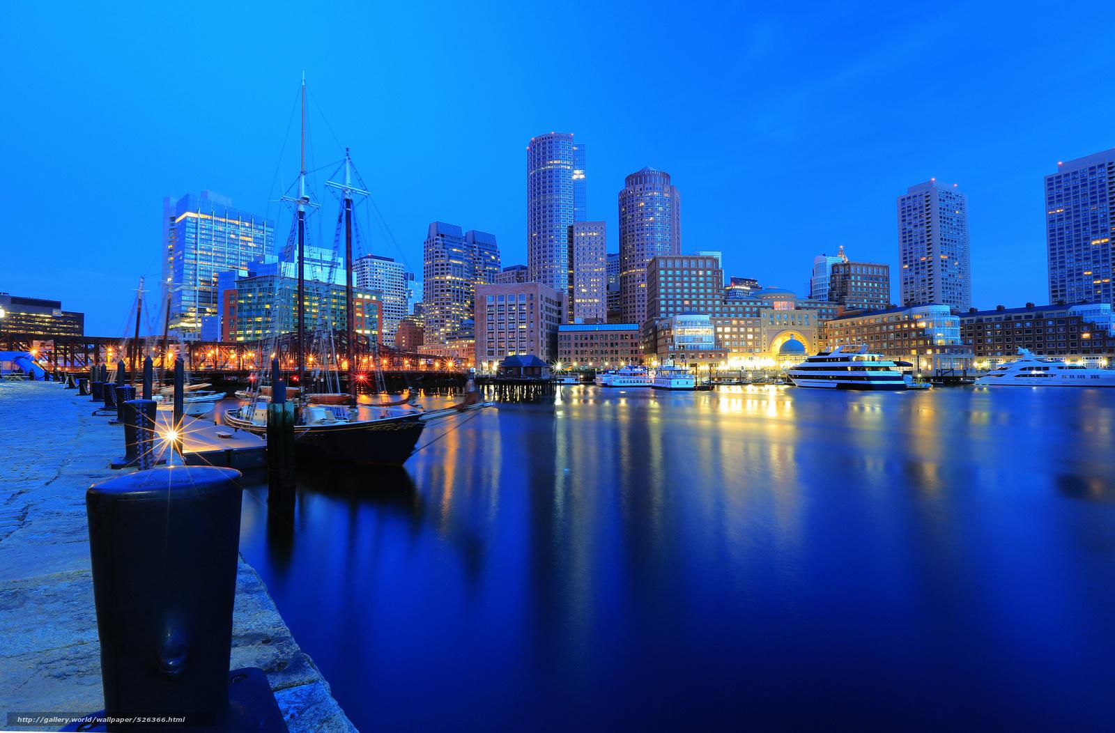 download wallpaper boston boston night city harbor free