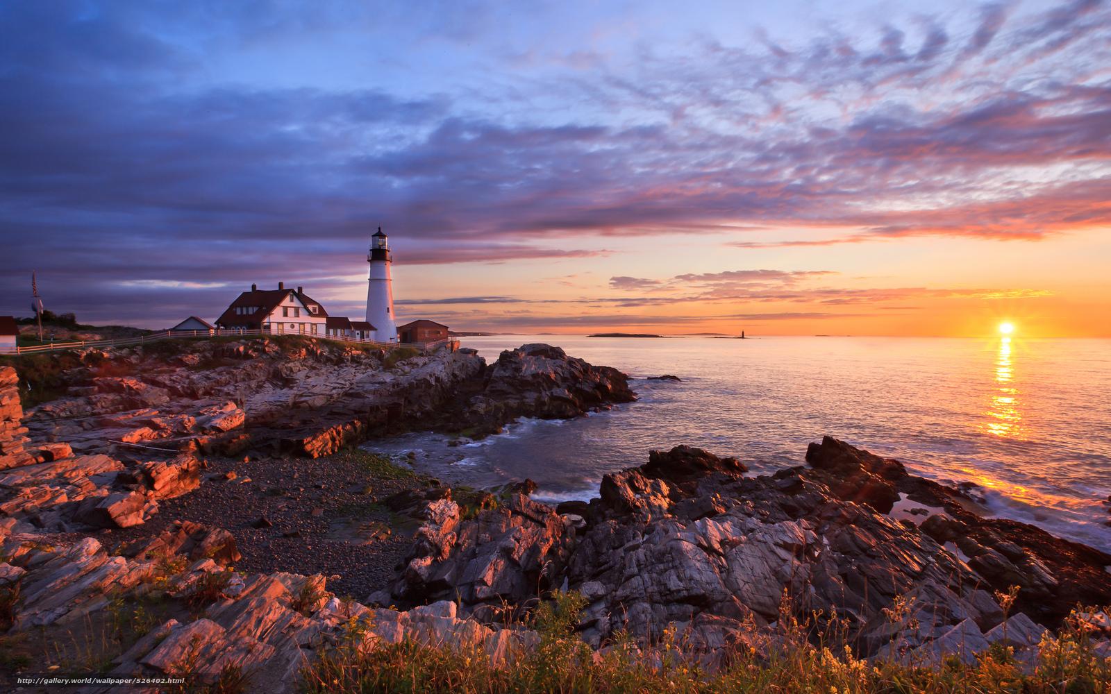 Download Wallpaper Portland Rocks Lighthouse Sea Free