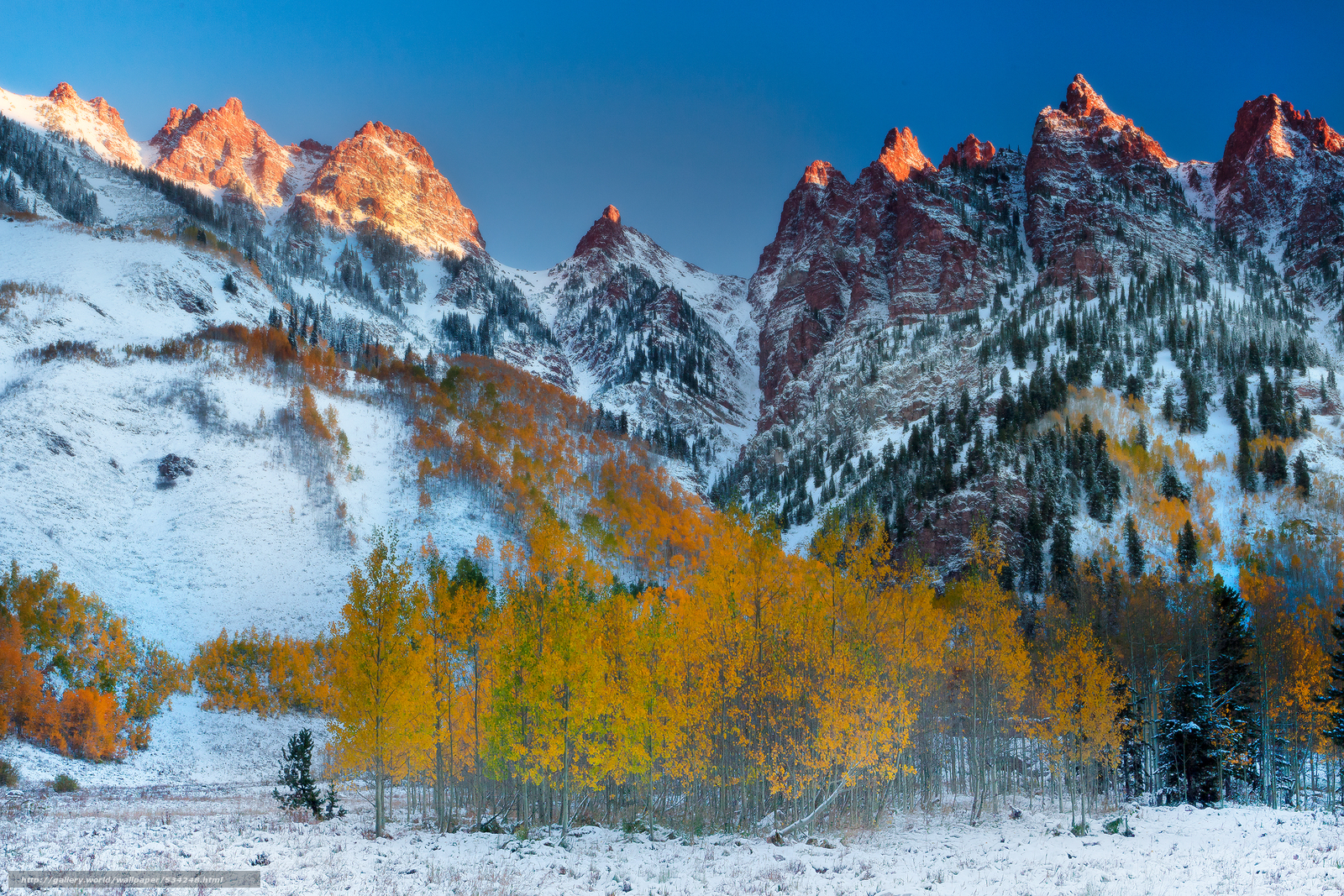 download wallpaper first light on the peaks maroon bells
