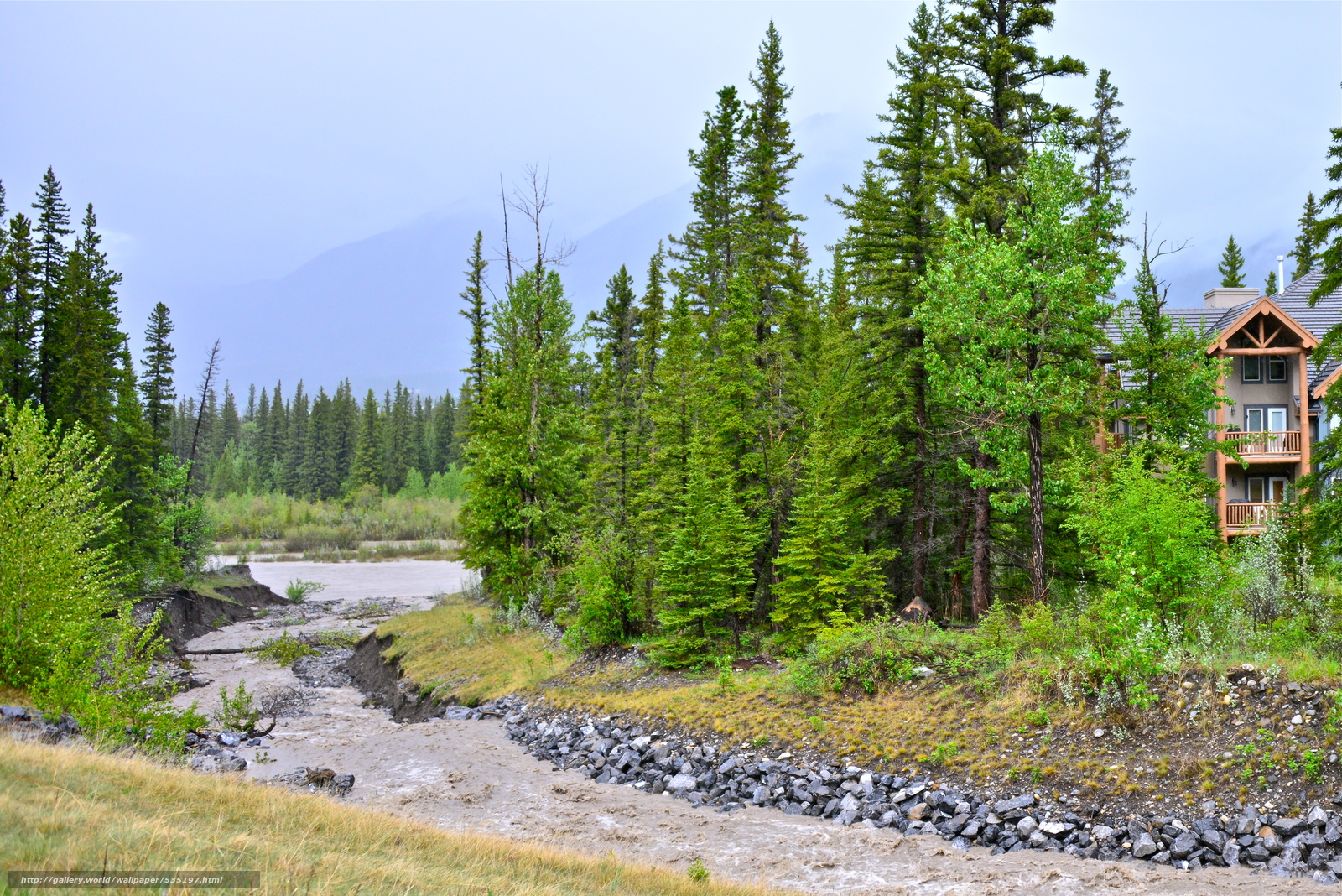 Download wallpaper Three Sisters Creek,  Canmore,  Alberta,  Canada free desktop wallpaper in the resolution 5080x3390 — picture №535197