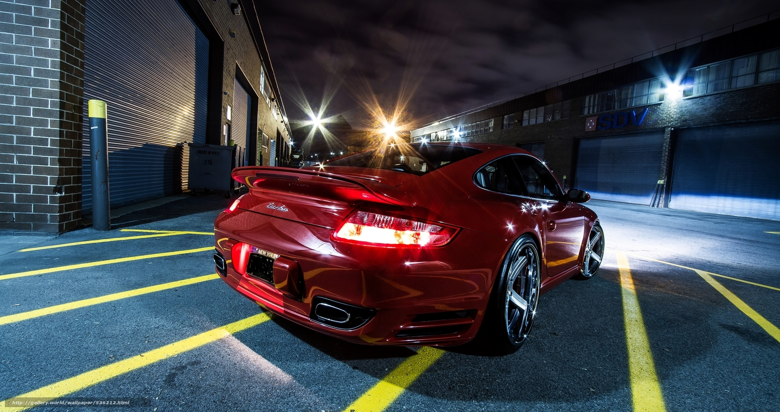 Porsche, Ночь, Красный, Бампер, …
