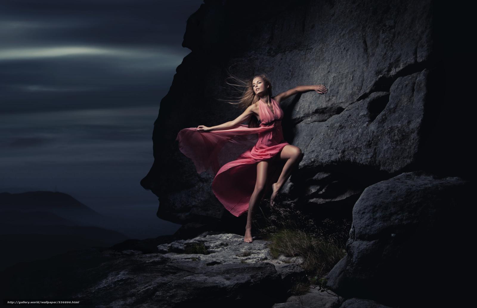 壁紙をダウンロード 若い女性, 山, ドレス ...
