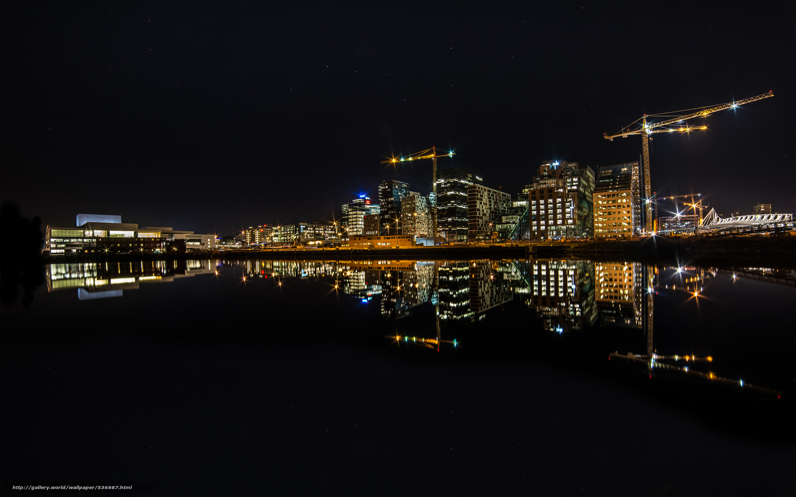 Download wallpaper tower crane river city lights free - Wallpaper picture ...