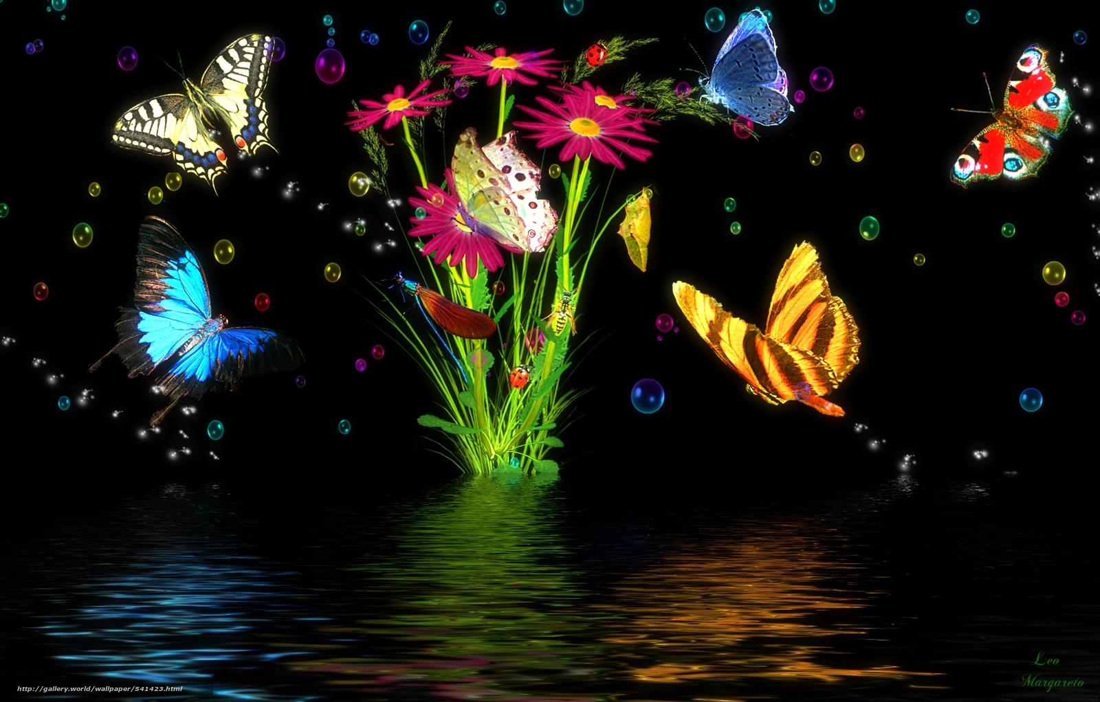 Descargar gratis mariposas flores 3d fondos de for Imagenes 3d para fondo de escritorio con movimiento
